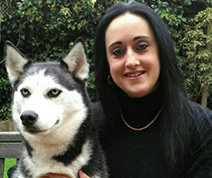 RSPCA Education Training and Development Adviser Caroline Francoli with her pet husky