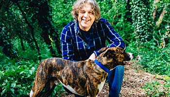 Alan Davies returns for the fourth series of The Dog Rescuers. Pictured here with 'Dude'.