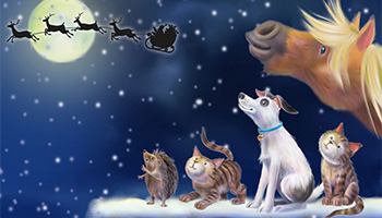 Cartoon animals looking at Santa and his reindeer © RSPCA