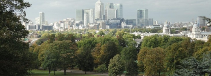 View of a park and the London skyline