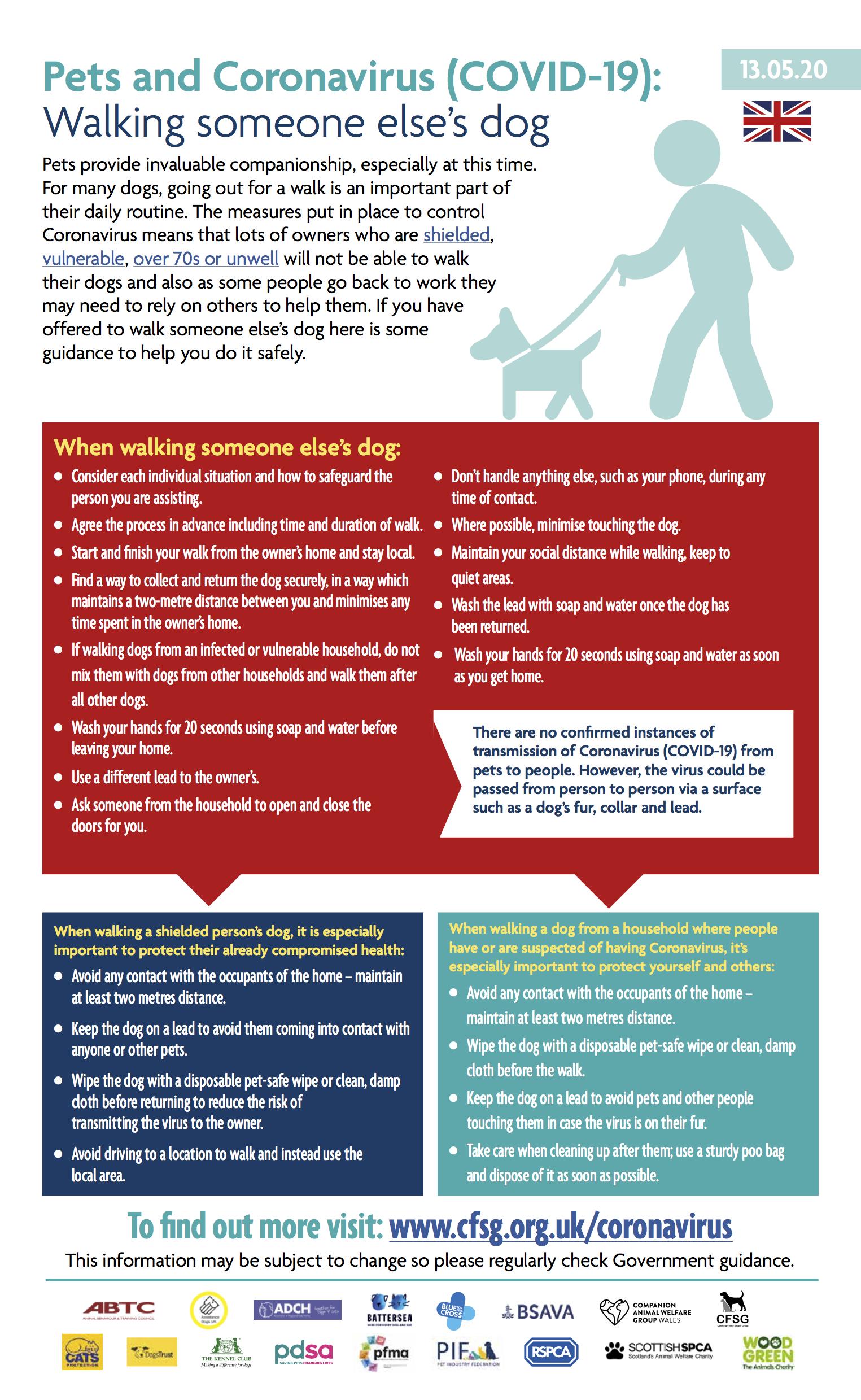 Walking someone else's dog for them during coronavirus