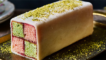 Rose and pistachio Battenburg cake