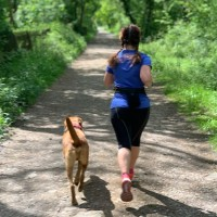 Runner outside with their dog