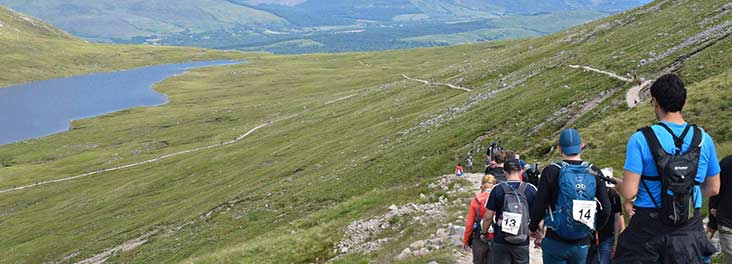 Hiker taking part in the Scottish Highlands Triple Challenge