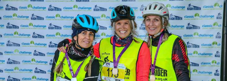 Three cyclists after cycling event