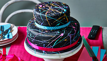 Tropical splatter showstopper birthday cake