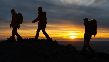 Hikers taking part in the Yorkshire 3 Peaks at Night challenge