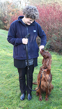 Julia and Bridie training - walk nicely