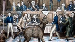 Illustration of The Trial of Bill Burn under Martin's Act © artist P. Mathews / RSPCA Photolibrary
