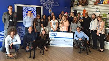 RSPCA at Build a Bear with Cheque and dogs © RSPCA