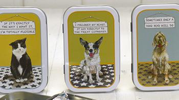 The Little Dog Laughed mint tins