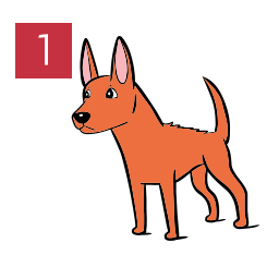 Graphic of dog standing forward with hair and ears raised © RSPCA