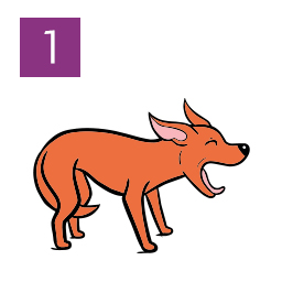 Graphic of dog yawning and tail between legs © RSPCA