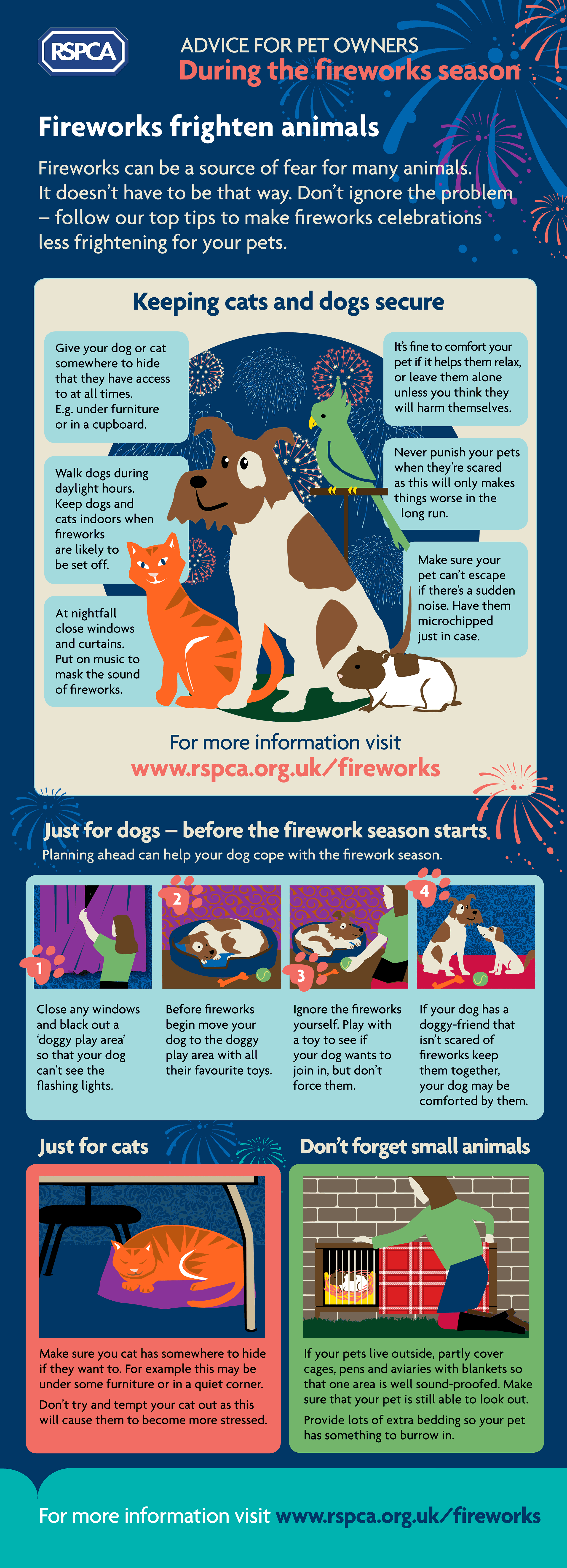 Advice for pet owners during the fireworks season Infographic - RSPCA