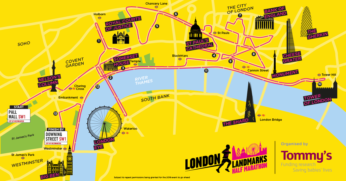 London Landmarks Half Marathon route