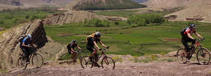 People cycling along Atlas Mountain