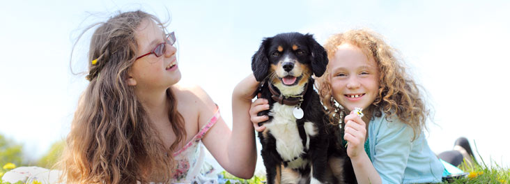 Two young girls sitting with mongrel dog outdoors © RSPCA Photolibrary