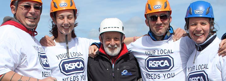 Fundraisers about to abseil © RSPCA