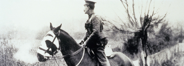 Inspector on horse working with the Army Veterinary Corps, France, circa 1915 © RSPCA photolibrary