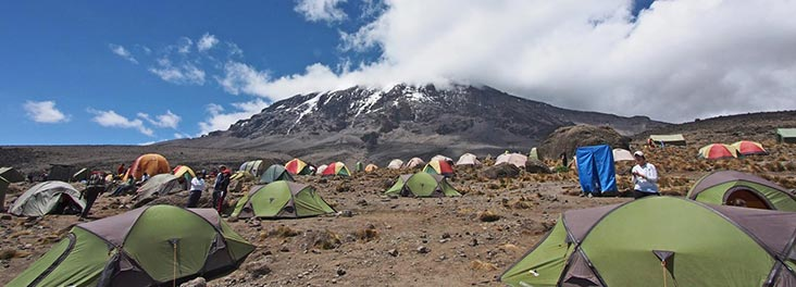 View of Kilimanjaro and the camp site