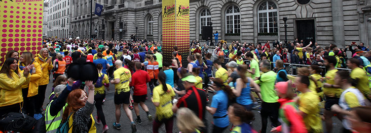 Runners taking part in the London Landmarks Half Marathon