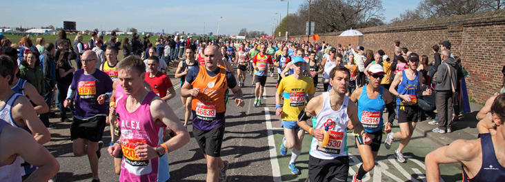 London Marathon 2013 Competitors running just after start line © RSPCA photolibrary