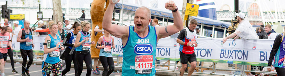 RSPCA supporter running the London Marathon © RSPCA