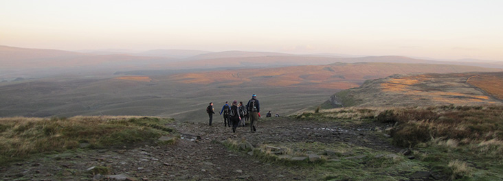 Hikers taking part in the Yorkshire Three Peaks challenge