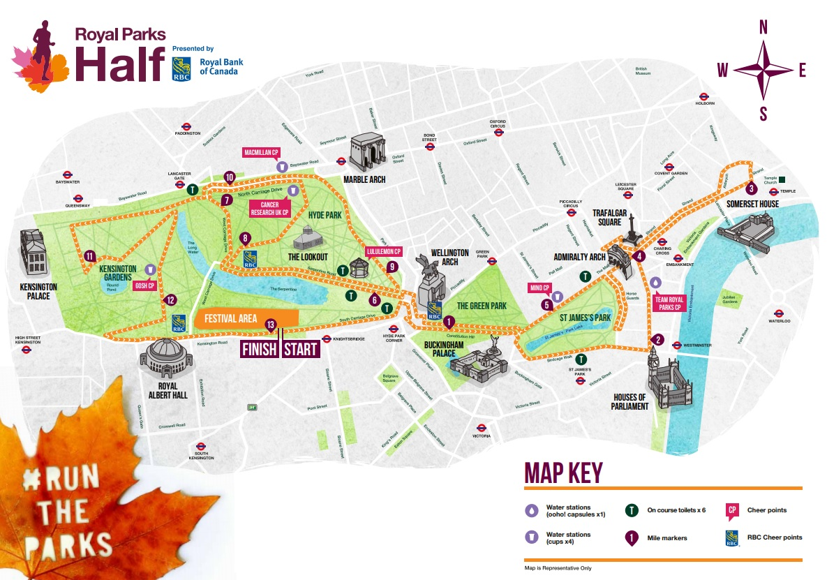 Royal Parks Half Marathon route
